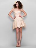 billige Ballkjoler-A-linje Kjære Kort / mini Blonder Cocktailfest / Skoleball Kjole med Blonder av TS Couture®