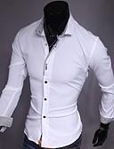 olcso Férfi pólók-Vékony Férfi Pamut Ing - Egyszínű / Hosszú ujj