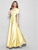 cheap Mother of the Bride Dresses-A-Line Jewel Neck Floor Length Satin Mother of the Bride Dress with Crystals / Sash / Ribbon / Ruched by LAN TING BRIDE®