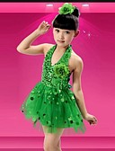 cheap Ice Skating Dresses , Pants & Jackets-Latin Dance Dresses Performance Polyester Sequin Sleeveless Natural