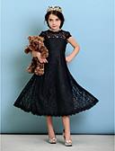 olcso Junior koszorúslány-ruhák-A-vonalú / Hercegnő Ékszer Tea-hossz Csipke Junior koszorúslány ruha val vel Rakott által LAN TING BRIDE® / Természetes