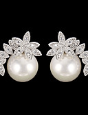 cheap Fashion Scarves-Women's Drop Earrings - Cubic Zirconia Fashion Silver For Daily / Pearl