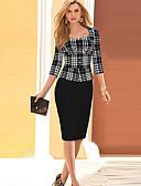 cheap Women's Dresses-Women's Work Sophisticated Cotton Sheath Dress - Plaid Sweetheart Neckline / Slim