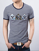baratos Roupas Íntimas e Meias Masculinas-Homens Camiseta Estampado, Listrado / Manga Curta