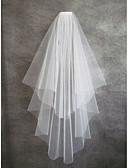 رخيصةأون طرحات الزفاف-Two-tier Cut Edge الحجاب الزفاف Fingertip Veils مع تول