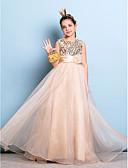 hesapli Çiçekçi Kız Elbiseleri-A-Şekilli Taşlı Yaka Yere Kadar Organze / Payetli Payet / Kurdeleler / Çiçekli ile Çocuk Nedime Elbisesi tarafından LAN TING BRIDE® / Doğal