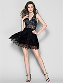 cheap Prom Dresses-A-Line / Fit & Flare V Neck Short / Mini Chiffon / Lace Prom Dress with by TS Couture®