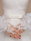 cheap Fashion Belts-Lace / Tulle Wrist Length Glove Bridal Gloves / Party / Evening Gloves / Flower Girl Gloves With Rhinestone / Floral