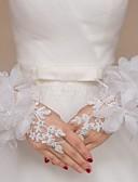 baratos Vestidos para Madrinhas-Renda / Tule Até o Pulso Luva Luvas de Noiva / Luvas de Festa / Luvas Para Daminhas de Honra Com Pedrarias / Floral