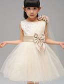 preiswerte Kleider für die Hochzeitsfeier-Ballkleid Knie-Länge Blumenmädchenkleid - Baumwolle / Polyester / Tüll Ärmellos Schmuck mit Schleife(n) durch LAN TING Express