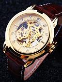 tanie Zegarki mechaniczne-Męskie Zegarek na nadgarstek zegarek mechaniczny Nakręcanie automatyczne 30 m Wodoszczelny / Wodoodporny Wgłębione grawery Skóra Pasmo Analog Luksusowy Brązowy - Czarny / Kawowy Brązowy / Biały