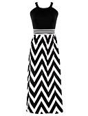 preiswerte Damen Kleider-Damen Festtage Swing Kleid Gestreift Maxi Gurt Schwarz & Weiß