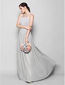 preiswerte Brautjungfernkleider-Eng anliegend U-Ausschnitt Boden-Länge Chiffon Brautjungfernkleid mit Drapiert durch LAN TING BRIDE®