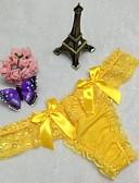 tanie Majtki damskie-Damskie Jendolity kolor, Koronka G-stringi i figi / Seksowne majtki Bawełna Średni Talia