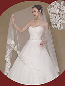 cheap Wedding Veils-One-tier Lace Applique Edge Wedding Veil Cathedral Veils 53 Embroidery Lace Tulle