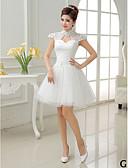cheap Bridesmaid Dresses-A-Line / Princess V Neck / High Neck / Jewel Neck Short / Mini Tulle Bridesmaid Dress with Lace / Sash / Ribbon / Pleats by