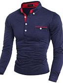 billige Hættetrøjer og sweatshirts til herrer-Tynd Herre - Ensfarvet Bomuld, Trykt mønster Arbejde Plusstørrelser Skjorte / Langærmet