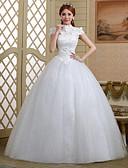 ieftine Rochii de Petrecere de Nuntă Lichidare-Haine Bal Gât Înalt Lungime Podea Dantelă / Tulle Made-To-Measure rochii de mireasa cu Cristal / Paiete / Flori de
