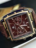 זול פלדת אל חלד-בגדי ריקוד גברים שעון יד לוח שנה PU להקה קסם שחור / חום / ETA AG4