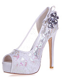 cheap Mother of the Bride Dresses-Women's Shoes Lace Spring / Summer Comfort Wedding Shoes Stiletto Heel Open Toe Rhinestone Golden / Light Blue / Ivory / Party & Evening