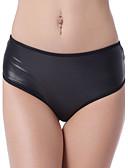 baratos Calcinhas-Mulheres Pele Artificial Ultra Sexy - Franjas, Sólido Cintura Média
