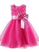 Χαμηλού Κόστους Φορέματα για κορίτσια-Νήπιο Κοριτσίστικα Γλυκός / Πριγκίπισσα Πάρτι Φλοράλ Φιόγκος / Πολυεπίπεδο Αμάνικο Φόρεμα Ροζ