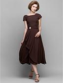 Χαμηλού Κόστους Φορέματα για τη Μητέρα της Νύφης-Γραμμή Α Scoop Neck Κάτω από το γόνατο Σιφόν Φόρεμα Μητέρας της Νύφης με Κρυστάλλινη λεπτομέρεια / Πλαϊνό ντραπέ με LAN TING BRIDE®
