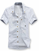 cheap Men's Shirts-Men's Plus Size Slim Shirt - Solid Colored Basic Button Down Collar / Short Sleeve