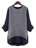 billige T-shirt-Dame - Farveblok / Patchwork Delt Plusstørrelser Bluse / Efterår