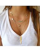 cheap Women's Swimwear & Bikinis-Women's Turquoise Layered / Tassel Layered Necklace - Turquoise Cross, Feather Tassel, Vintage, Party Gold, Silver Necklace For Special Occasion, Birthday, Gift
