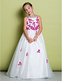 cheap Wedding Dresses-A-Line Floor Length Flower Girl Dress - Organza Sleeveless Jewel Neck with Beading / Appliques by LAN TING BRIDE®