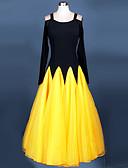 cheap Ballroom Dance Wear-Ballroom Dance Dresses Women's Performance Chinlon Crepe Draping Long Sleeves Dress