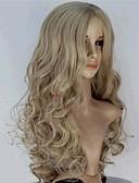 billige Undertøy og sokker til herrer-Syntetiske parykker Bølget Blond Syntetisk hår Midtskill Blond Parykk Dame Lang Monofilament / L-del / Halv Capless Blond / Lokkløs
