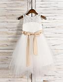 billige Bryllupsfestkjoler-A-linje Telang Blomsterpikekjole - Tyll Ermeløs Besmykket med Sløyfe(r) / Blonder / Belte / bånd av LAN TING BRIDE®