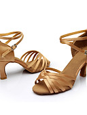 cheap Plus Size Dresses-Women's Latin Shoes / Ballroom Shoes Silk Sandal / Sneaker Buckle / Ribbon Tie Customized Heel Customizable Dance Shoes Silver / Brown /