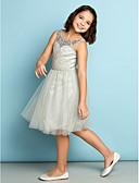 billige Junior brudepikekjoler-A-linje Scoop Neck Knelang Tyll Junior brudepikekjole med Krystalldetaljer / Kryssdrapering av LAN TING BRIDE® / Naturlig / Mini-meg