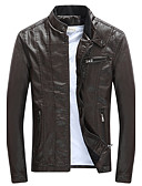 cheap Men's Jackets & Coats-Men's Daily / Going out Active / Boho / Street chic Fall / Winter Plus Size Regular Leather Jacket, Solid Colored Stand Long Sleeve PU / Cotton / Polyester Oversized Brown / Black / Wine XL / XXL