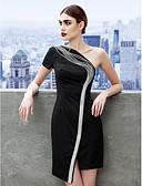 baratos Vestidos de Mulher-Tubinho Assimétrico Curto / Mini Microfibra Jersey Vestidinho Preto Coquetel Vestido com Apliques de TS Couture®