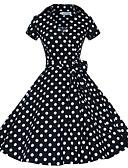 ieftine Regina Vintage-Pentru femei Ieșire Vintage Bumbac Linie A Rochie Buline Guler Cămașă Lungime Genunchi / Primăvară / Toamnă
