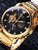 cheap Mechanical Watches-Men's Mechanical Watch Automatic self-winding 30 m Water Resistant / Water Proof Hollow Engraving Creative Stainless Steel Band Analog Luxury Sparkle Gold - White Black Golden / Imitation Diamond