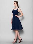 Χαμηλού Κόστους Φορέματα Παρανύμφων-Γραμμή Α Δένει στο Λαιμό Μέχρι το γόνατο Σιφόν Φόρεμα Παρανύμφων με Χιαστί / Λουλούδι με LAN TING BRIDE®