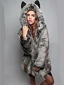 cheap Women's Fur Coats-Women's Chic & Modern Faux Fur Fur Coat-Solid Color Animal