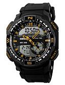 hesapli Spor Saat-Erkek Dijital Bilek Saati Spor Saat Alarm Takvim Kronograf Su Resisdansı Spor Saat LED Çift Zaman Bölmeli PU Bant Lüks Siyah