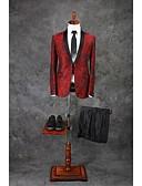 お買い得  スーツ-バーガンディー 仕様 テイラーフィット ポリエステル スーツ - ショールカラー シングルブレスト 一つボタン / パターン/プリント