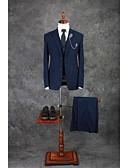 preiswerte Kleider für die Hochzeitsfeier-Tintenblau Solide Reguläre Passform Baumwollmischung Anzug - Fallendes Revers Einreiher - 2 Knöpfe / Anzüge