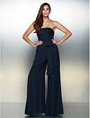 cheap Evening Dresses-Jumpsuit Strapless Floor Length Chiffon Formal Evening Dress with Beading / Bow(s) by TS Couture®