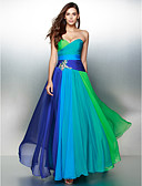 cheap Prom Dresses-A-Line Sweetheart Neckline Floor Length Chiffon Color Block Prom / Formal Evening Dress with Crystals / Ruched by TS Couture®