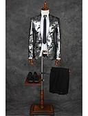 economico Completi-Grigio Modello Taglio sartoriale Poliestere Tuta - Alla coreana Monopetto - 1 bottone / A fantasia / stampa / Suits