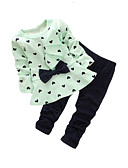 cheap Girls' Dresses-Girls' Going out Clothing Set, Cotton Spring Fall Long Sleeves Bow Yellow Green Pink