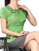 baratos Blusas Femininas-Mulheres Blusa Moda de Rua Frufru Pregueado, Sólido